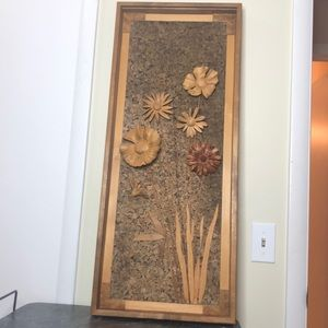 Massive vintage 70's carved wood flowers picture